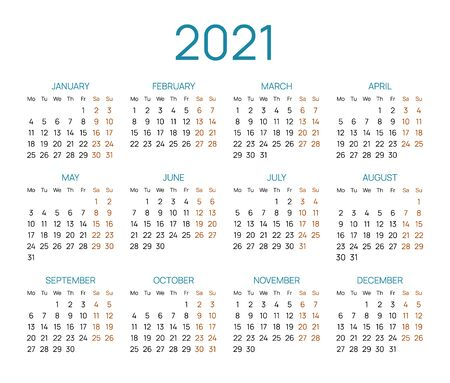 Universal calendar layout for 2021 year. English template with dates grid on white background. Week starts from Monday. Horizontal annual calendar vector design for time organization and planning. Illusztráció