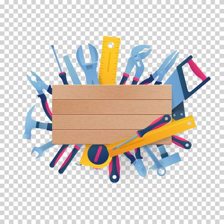 Round frame from hand instruments with copy space. DIY store signboard vector illustration. Hammer, pliers, handsaw, rasp, adjustable spanner, wrench, tape measure and screwdrivers around wooden board