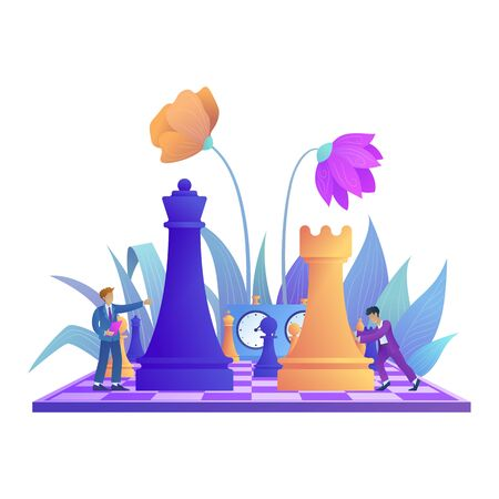Business strategy concept. Teamwork and strategic planning. Chessboard and chess pieces with flower decoration. Office worker on chessboard moves chess piece. Flat vector illustration