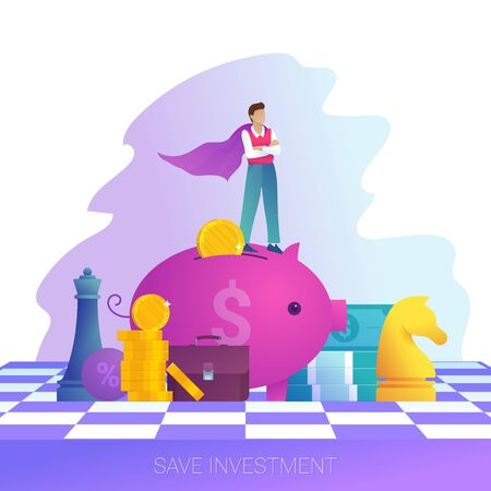 Concept of save investment, business strategy and leadership. Businessman in cloak stands on piggy bank. Chessboard and chess game. Male character in trendy style. Flat vector illustration