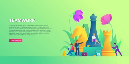 Teamwork banner template. Business strategy flyer. Characters brainstorming for new digital business strategy. Landing page or homepage. Business people in trendy style. Flat vector illustration