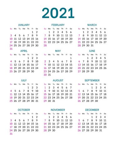 Pocket calendar layout for 2021 year. English template with dates grid on white background. Week starts from Sunday. Vertical annual calendar vector design for time organization and planning