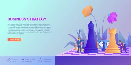 Business strategy landing page template. Businessman moves chess figure on chessboard with flower decoration. Concept of teamwork and planning. Tiny people in trendy style. Vector illustration