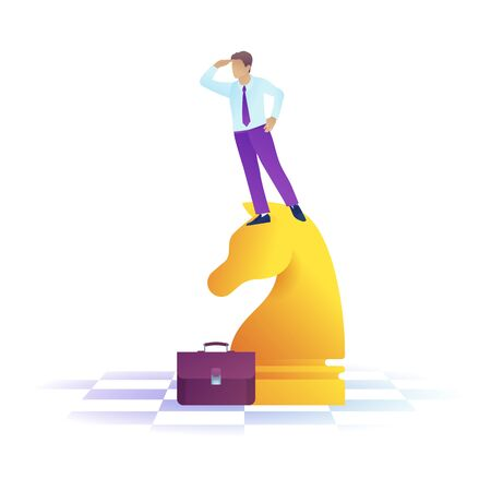 Concentrated businessman standing looking ahead into the distance. Handsome man in office clothes stands on chess figure. Business vision perspective planning concept. Flat vector illustration