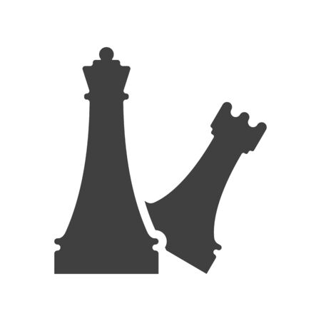 Black and white chess element template. Chess castling sign vector illustration. Chess tournament and professional sport competition symbol. Queen and rook figures isolated on white background.