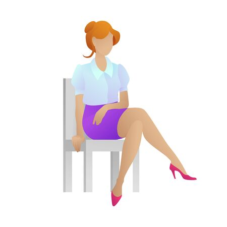 Cute businesswoman sitting on chair. Female assistant, isolated on white background. Young women in elegant office clothes sits. Employee or secretary in trendy style. Flat vector illustration
