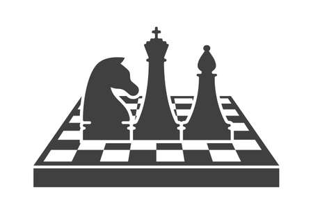Black chess   template. King, knight and bishop figures standing on chessboard isolated on white background. Chess tournament and professional sport competition symbol. Chess school vector sign