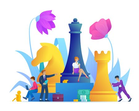 Business strategy cartoon concept. Successful teamwork page concept with chess piece. Effective corporate analysis game for finance success. Flat vector illustration with flower decoration.