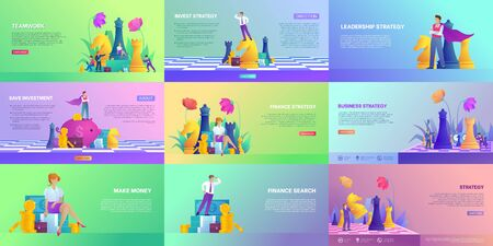 Set of finance and investment tamplates. Concept of teamwork, make money and finance strategy. Collection different landing page with flower. Business people in trendy style. Flat vector illustration