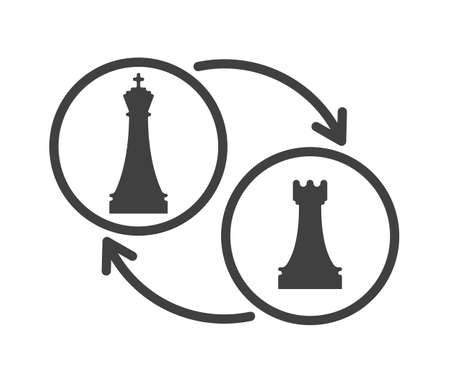 Black and white chess castling sign. Chess game tournament and professional sport competition symbol. Chess play vector illustration. Queen and rook figures isolated on white background.