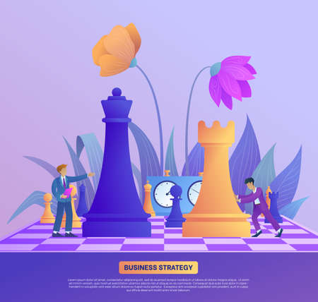 Business strategy concept banner. Businessmen come up with new strategy. Teamwork and strategic planning. Office worker on chessboard moves chess piece. Landing page template. Flat vector illustration Illustration