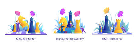 Management and time strategy concept. Collection on topic of business. Office workers considering strategic plan. Set with various characters. Business people with chess figures. Vector illustration 일러스트