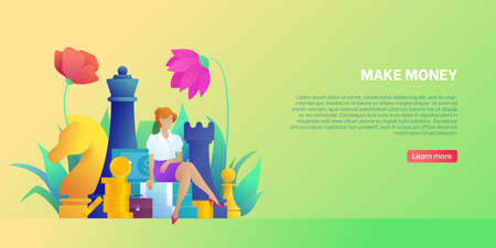 Concept of making money, profit and business. Landing page template with young female character in office clothes. Big chess figures. Business woman earns money. Flower decor flat vector illustration