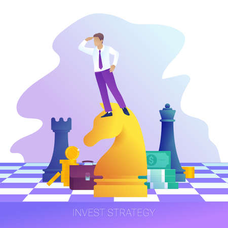 Concept of successful business strategy. Businessman on horse chess piece looking for success, opportunities. Investment and finance flat vector illustration. Male character looks into the distance. Stock Illustratie