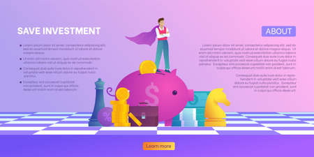 Save investment and make money banner. Young businessman in super mans cloak on piggy box with coins and pack of money. Concept of invest, leadership and save money. Trendy flat vector illustration