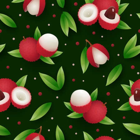 Lychee fruit tropical seamless pattern. Bright organic desert, tropical vegeterian food. Endless repeating print for fabric, textile, wrapping paper, background design vector illustration