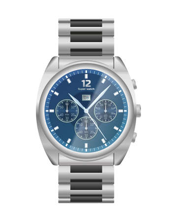 Elegant chrome wrist watch. Steel watch chronograph. Conception of punctuality, accuracy and time measurement flat vector illustration isolated on white background.