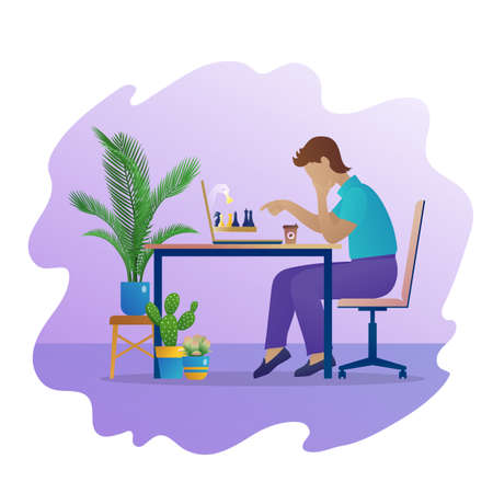 Man play chess game online. Pensive man sitting at table in front of laptop screen concentrated on strategic game. Online chess tournament, self-isolation during quarantine. Flat vector illustration Vettoriali