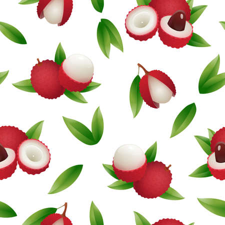 Exotic lychee fruit seamless pattern. Whole, cut in half organic fruits with leaves. Endless repeating print for fabric, textile, wrapping paper, background design vector illustration Vettoriali
