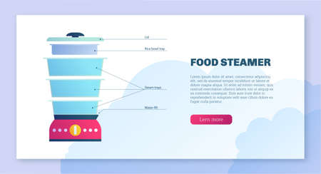 Domestic food steamer web banner. Double boiler electric device for healthy food cooking. Household multi steamer appliance inscription landing page vector illustration isolated on white background Vettoriali
