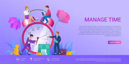 Manage time landing page. Tiny business people trying to turn back arrows of huge alarm clock. Effective workflow organization, deadline, productive strategy concept cartoon vector illustration Ilustracja