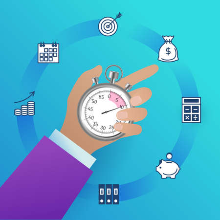 Time management concept. Businessman holding stopwatch. Business process optimisation, productivity, schedule planning, deadline and punctuality concept flat vector illustration