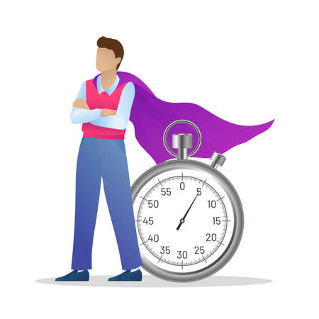 Successful businessman in purple cloak with stopwatch. Superhero man standing with crossed arms. Time management for maximizing effect, deadline and punctuality concept flat vector illustration