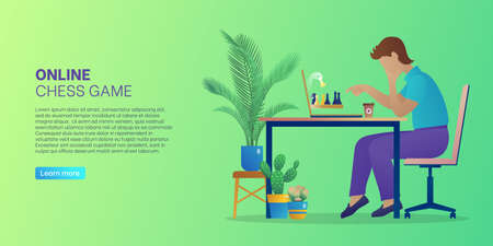 Online chess game web banner. Man sitting in front of computer screen playing strategic intellectual board game during self-isolation. Online chess tournament landing page. Flat vector illustration