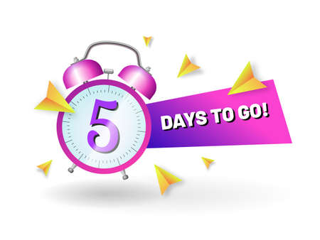 Sale countdown banner with alarm clock. Five day to go sale slogan. Promotional, advertising banner with number of days remaining, alarm of sale or low price flat vector illustration