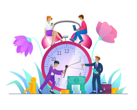 Time management, effective workflow organization. Tiny business people adjusting classic huge alarm clock on nature background. Business team working together with gadgets cartoon vector illustration Archivio Fotografico