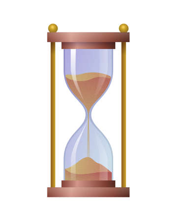 Hourglass antique time measuring instrument. Sandglass vintage clock, time management, punctuality concept flat vector illustration isolated on white background.