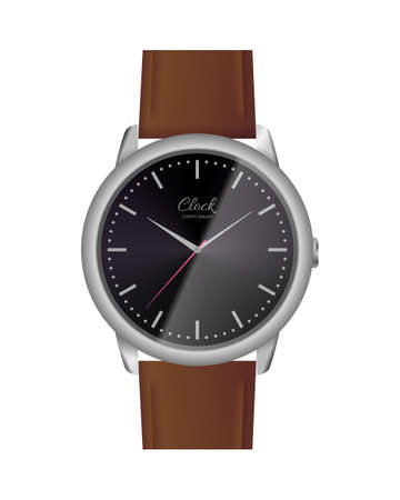 Classic analog watch with black face. Elegant wrist watch with brown leather strap. Conception of punctuality, accuracy and time measurement flat vector illustration isolated on white background. Vettoriali