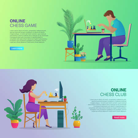 Online chess game club banners set. People sitting in front of computers playing strategic game during self-isolation. Online chess tournament, landing page website or app. Flat vector illustration