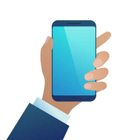 Hand holding smartphone. Businessman using modern device with blank touchscreen. Template for advertising or presentation of mobile app, web site, banner design flat vector illustration
