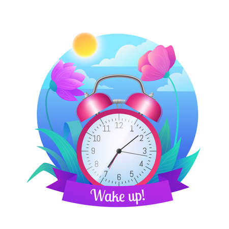 Wake up icon. Pink retro alarm clock on beautiful nature landscape with flowers, blue sky and sea. Spring or summer time design flat vector illustration