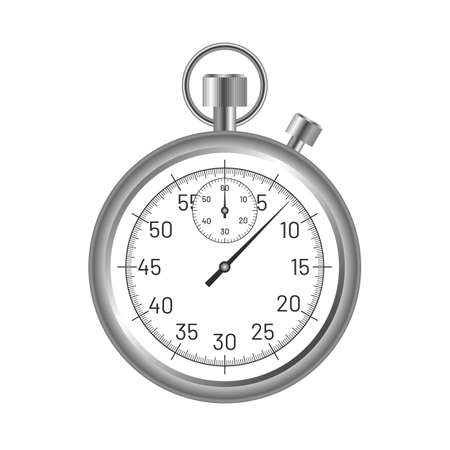 Classic sports stopwatch. Analog chronometer timer device. Competition, deadline and punctuality symbol flat vector illustration isolated on white background.