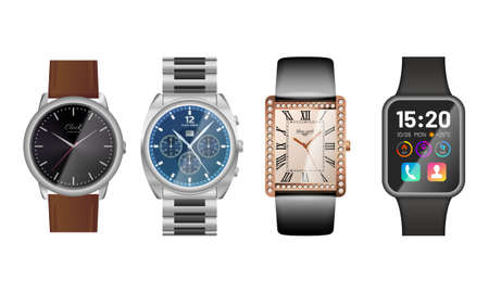 Modern and classic watches set. Elegant analog wrist watches and new generation electronic smart device. Punctuality and time measurement concept flat vector illustration isolated on white background.