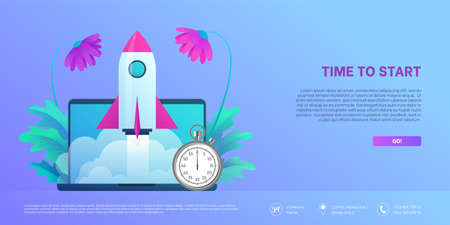 Time to start landing page template. Space rocket flying out from laptop screen with stopwatch. Business startup, deadline and punctuality concept flat vector illustration isolated on white background