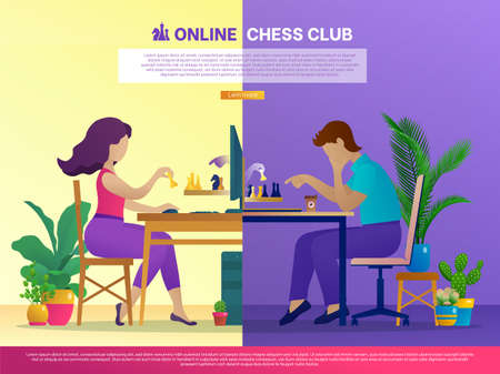 Online chess club landing page template. People sitting in front of computers playing strategic intellectual game. Online chess tournament website, self-isolation concept. Flat vector illustration Vettoriali