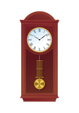 Traditional retro style pendulum clock. Vintage grandfather floor clock in tall wooden case. Interior decoration object flat vector illustration isolated on white background.