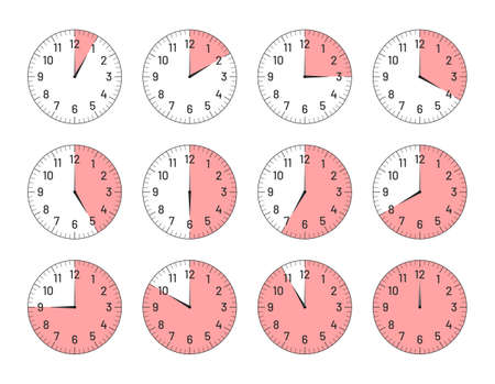 Clock faces with different time intervals set. Clock and watch dial plates with arabic numerals and hours ticking outline vector illustration isolated on white background Ilustracja