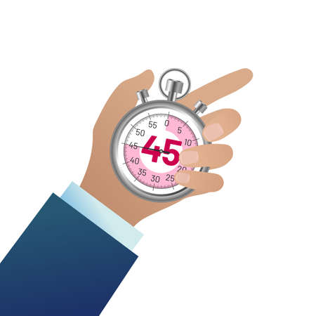 Businessman hand holding stopwatch. Male hand pushing button. Time management, deadline and punctuality concept flat vector illustration isolated on white background