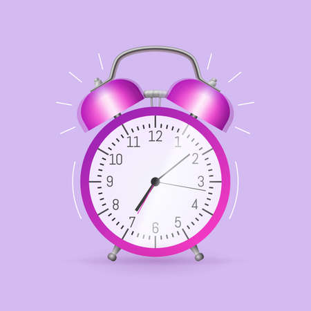 Classic alarm clock. Morning wake up, time to get up in school and at work concept flat vector illustration. Template advertising banner, time and wake up concept. Vettoriali