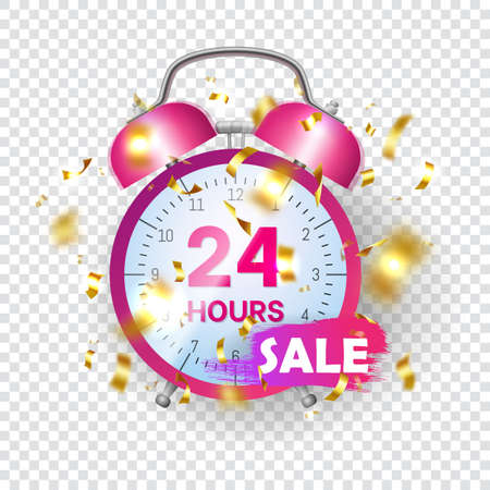 24 hour flash sale. Limited time special discount offer promotional banner, poster, coupon, flyer design. Classic pink alarm clock with gold confetti on transparent background flat vector illustration Vettoriali