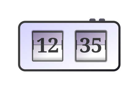 Table analog flip clock. Retro style alarm clock, time measuring device. Conception of punctuality and accuracy flat vector illustration isolated on white background. Vettoriali
