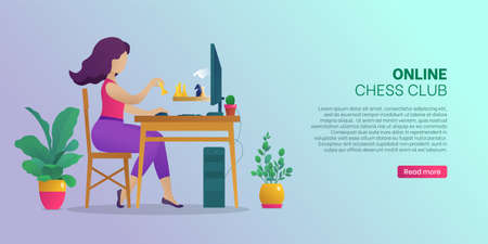 Online chess club web banner, landing page. Woman sitting in front of computer screen playing strategic game during self-isolation. Online chess tournament website or app. Flat vector illustration