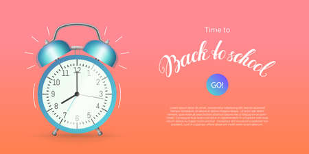 Time to back to school banner template. Stationery store, online education, e-learning website, mobile app with classic alarm clock flat style horizontal vector illustration