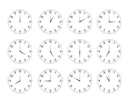 Classic round clock dial plates collection. Clock and watch faces with arabic numerals and full day time variations with hour hand outline vector illustration isolated on white background
