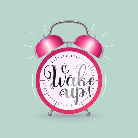 Wake up alarm clock inscription. Classic ringing alarm clock with inspirational message handwritten with black ink and brush on its face flat design vector illustration. Vettoriali