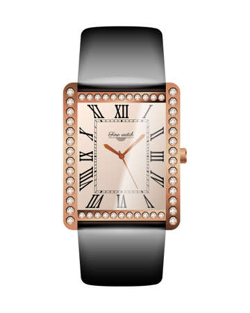 Women luxurious wrist watch. Expensive gold watch with diamonds and leather strap. Conception of punctuality, accuracy and time measurement flat vector illustration isolated on white background. Vettoriali